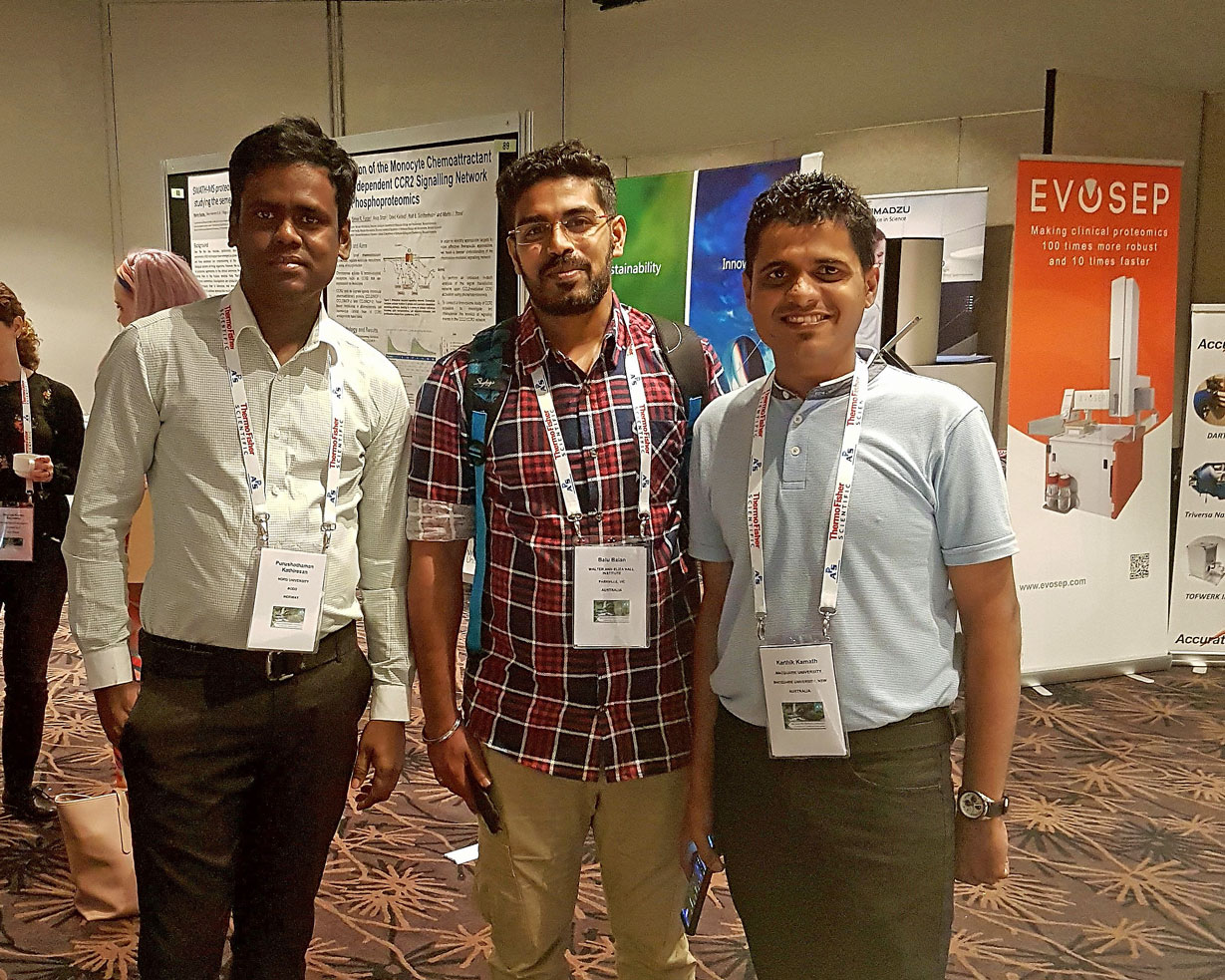 "Ph.d.-candidate at FBA, Purushothaman Kathiresan (left) participated in ""The 24th Annual Lorne Proteomics Symposium"" in Australi"